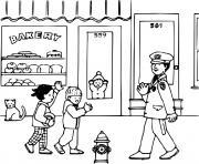 des enfants disent bonjour a un policier dessin à colorier
