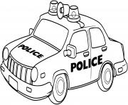 voiture de police facile simple dessin à colorier