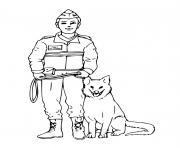 chien policier et officier dessin à colorier
