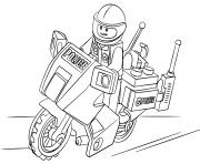 police lego en moto dessin à colorier