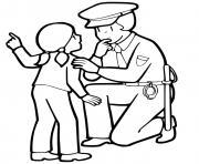 un petite fille parle avec une agente de police dessin à colorier