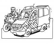 voiture de police france avec moto de police dessin à colorier