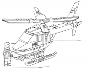 Police Lego Helicoptere dessin à colorier