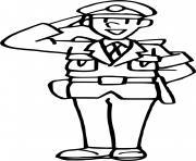 gendarme au garde a vous dessin à colorier