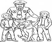 chien policier et officier avec deux enfants 1 dessin à colorier