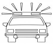 devant de voiture de police avec gyrophare allumee dessin à colorier