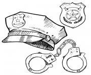equipement de policier dessin à colorier