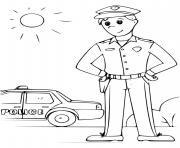 policer avec sa voiture journee ensoleillee dessin à colorier