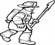 pompier avec une bouteille d oxygene dessin à colorier