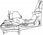 avion de pompier pour eteindre les feux de montagne dessin à colorier