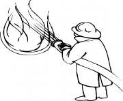 pompier qui eteint un feu dessin à colorier