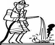 un pompier arrose un feu dessin à colorier