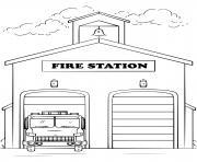 caserne de pompier contre les incendies dessin à colorier