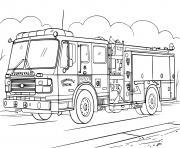 camion de pompier realiste dessin à colorier