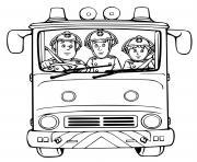 camion de pompier avec trois pompiers pret a passer a laction dessin à colorier