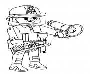 pompier playmobil communique avec son equipe dessin à colorier