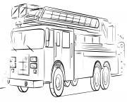 veritable camion de pompier dessin realiste dessin à colorier