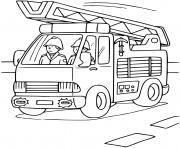 camion des pompiers avec echelle dessin à colorier