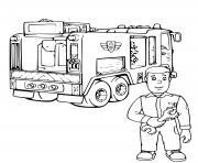 mecanicien pour reparer le camion de pompier dessin à colorier