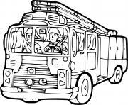 camion grande echelle dessin à colorier