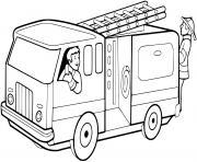 camionnette pompiers dessin à colorier