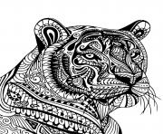Coloriage tigre en plein action pour attraper sa proie dessin