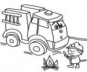 camion de pompier avec un enfant de la maternelle qui eteint le feu dessin à colorier