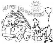 au feu les pompiers dessin à colorier