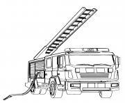 camion de pompier avec une echelle dessin à colorier