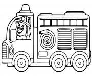 camion de pompier maternelle facile dessin à colorier
