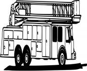 camion la grande echelle dessin à colorier