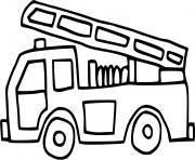 camion de pompier simple dessin à colorier