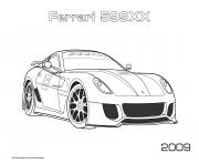 Voiture Ferrari 599xx 2009 dessin à colorier