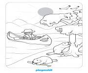 playmobil sur un lac dessin à colorier