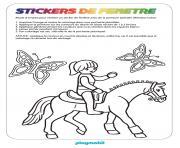 fille playmobil sur un cheval dessin à colorier