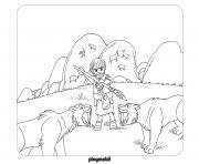 playmobil la prehistoire contre les animaux dessin à colorier