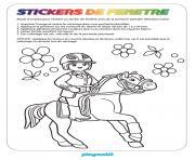garcon playmobil sur un cheval dessin à colorier