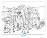 playmobil dans une ferme avec chevaux dessin à colorier