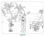 playmobil en vacance dessin à colorier
