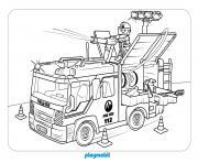 camion de pompier playmobil dessin à colorier