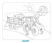 playmobil a la ferme dessin à colorier