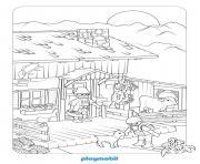 playmobil avec un fermier dessin à colorier