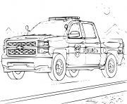chverolet 4x4 voiture de police americain dessin à colorier