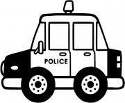 automobile de police maternelle dessin à colorier