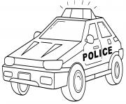 transport voiture de police style carre dessin à colorier