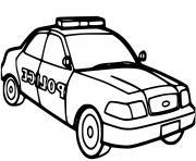 voiture de police maternelle americaine dessin à colorier
