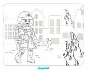 Pompier Playmobil eteint un incendie dans une maison dessin à colorier