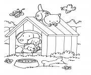animaux maternelle chat et chiens dans la maison de chien dessin à colorier