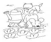 chien chat et souris dans le jardin dessin à colorier
