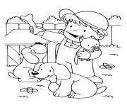 un enfant avec son chats et ses deux chiens dessin à colorier